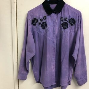 Tops - Purple tie dyed collared shirt